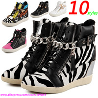 Zebra GZ  Punk Genuine Leather Fashion Sneakers,10-styles Double Zipper,Metal Decoration,Street Shoes,Size 35-39,Women's Shoes