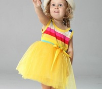 girls rainbow dresses,girls tutu dresses,baby Stripe bowknot dresses wholesale,4pcs/lot mix full size free shipping