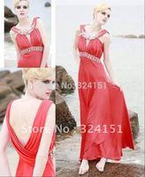 Elegant  New ! 2014Column  Cheap  Round NECK Water Melon  Beading Ankle Length Chiffon  Evening Dress Prom Party  Dresses