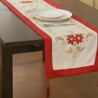 "38x132cm ,Holiday Red!Christmas Decoration, Embroidery  Tablelinen/ RUNNERS  15X52"" ! Free shipping"
