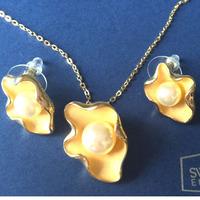 3-clover pearl pendant necklace stud earrings purple 925 silver plated zinc alloy NJ-745 Beauty Paradise@Rihood Jewelry 2013
