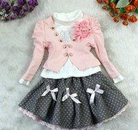 hotsale Girl's Autum 3pcs Clothing Set Pink Coat+White primer Shirt+ woolen bow-knot winter Skirt