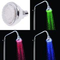 3 color Romantic Temperature Sensor LED Shower Head ABS electrochromism