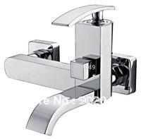 Bathroom Vessel Sink Faucets Brass Zinc Alloy Handle Ceramic Spool Wall Mount Bathroom Mixer Perfect Hose Sink Vanity KF-6073