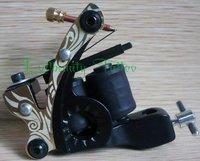 Steel Tattoo Machine 10 Wrap Coil Liner + Shader Guns kit  supply  equipment  Brass Adjustable Binder