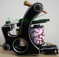 Free shipping 1 Black Steel Tattoo Machine permanent makeup equipment 10 Wrap Coil Liner and Shader Gun Brass Binder