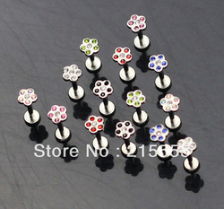 Wholesale body piercing jewelry 316l lip ring labret monroe mixed color 100pcs/lot free shipping(China (Mainland))