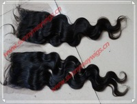 "Sunnymay Malaysian virgin human hair natural wave lace closure bleached knots top closure in stock 3""*4"""