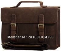 free shipping,HK post ,Mens Vintage Bull Real Leather handbag tote Briefcase 13'' LAPTOP CASE Messenger Bag  A8001