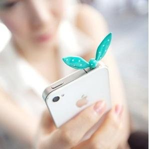 F1R6C Wholesale 12pcs/Lot New Cute Colorful Rabbit Ear Bowknot Dustproof Plug Ear Caps For Iphone