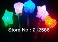 Wholesale LED glow star wand mixed glow star rose heart shaped stick,flashing light glow stick for concert and party supplier