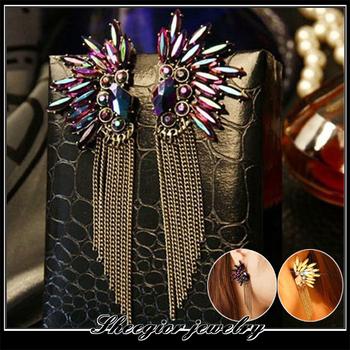 New arrival Fashion Noble purple rhinestone tassels earrings Mini order $15 Mix order+gift  Free shipping E0028J