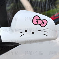 Personalized cute hello kitty  rearview mirrorcar stickers for cars 1pair/lot retail and wholesale car styling