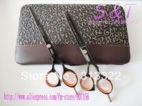 "5.5"" Black Color 2 PCS Matched Barber Scissors Set,Beauty Hair Cutting Scissors,Hair Shears,Razor Scissors + Thinning scissors"