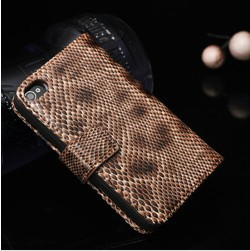 Top quality pu snake pattern case for iphone 4s 4g luxury luxury book wallet case for iphone4 Fashion case women bags(China (Mainland))