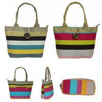 Hot sale Free shipping 2013 New Arrive Women bag Canvas handbag Colour bar Restore wood button bag Shoulder bag Large hand bags