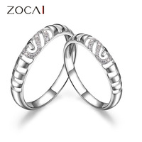 ZOCAI ENCOUNTER REAL 0.07 CT CERTIFIED H /SI DIAMOND HIS AND HERS WEDDING BAND RINGS SETS ROUND CUT 18K WHITE GOLD