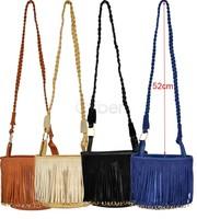 Women Ladies Woven Shoulder Strap PU Leather Tassel Shoulder Bag/ Side Bag/ Small Bag  8157