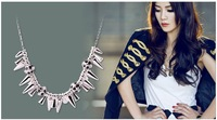 Free Shipping~~Fashion Necklace 2012 Metal Gold Punk Muti Spike Rivet&Skull Chunky Choker Collar Necklace OY111304(N021)