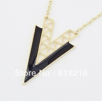 Min Order 15 USD(Mix item) Europe&America Fashion Geometry Hollow Double V Statement Necklace Wholesale SJA637 8090 Jewelry
