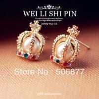 2168 accessories big pearl stud earring imitation diamond vintage earrings stud earring female