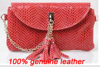 Вечерняя сумка 2012 new fashion style 100% genuine leather women's handbag brand tassel + chain evening bags