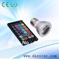Free shipping 16 Colors Change E27 RGB 3W LED light bulb