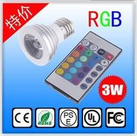 Wholesale 3W RGB LED Bulb E27|GU10|MR16 16 Color changing Spotlight Light Lamp 85V-265V + Remote control