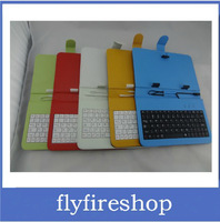 free shipping 100pcs/lot Leather Case with micro USB Interface Keyboard for 7 inch AllWinner A13 Q88 tablet PC