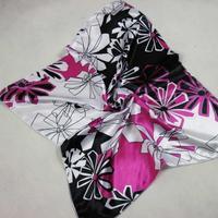 Mulan'S 52x52cm fashion floral printing 100%satin silk feeling Headband Classic Square Satin Scarf ,FREE SHIPPING