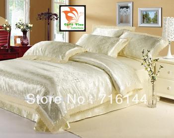 A3 100% slik cotton jacquard satin bedding set /duvet cover set /bed sheet /comforter set    queen/full size  Free Shipping