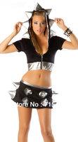 Hot Selling Sexy Sorceress Black Foamy Spiked Jacket  Halloween Party Costume Dancewear Cosplay Wear