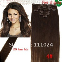 "Free shipping FULL HEAD 15""-30"" #4 medium brown REMY CLIP IN HUMAN HAIR EXTENSIONS 70G-120g/SET"