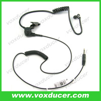Black tube headset Listen only earphone with 3.5mm jack plug for two way radio speaker mic