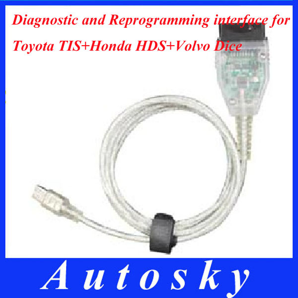 Freeshipping Car diagnostic tool for Toyota TIS+honda HDS + Volvo Dice Diagnostics and Reprogramming Interface(China (Mainland))