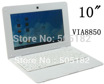 "LOW price 10"" Android 4.0 netbook VIA 8850 cpu 512M 4GB Notebook MINI Laptop CUP 1.2GHz with webcam Free DHL Shipping(5 pcs/lot)"
