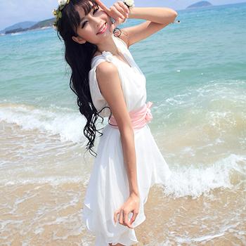 New 2015 Hot Fashion V-Neck Ruffles Sleeveless Casual Chiffon Beach Dress For Women, Women's Clothing  #1095