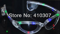 Hot Blinking S Style Glowing Glasses LED Glasse Festival Party Dance Supplies Transparent Color HK Post Free Shipping 9 pcs