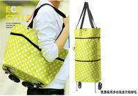 Free shipping Portable foldable trolley bag / shopping bag/casual bag