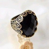 Min.order is $10 (mix order) 21A27  Fashion personality elegant retro carving black stones ring wholesale free shipping