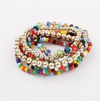 Min.order is $15(mix order)big promotion bohemia  trendy multi-beads chain multi-layer bracelet vintage bracelet