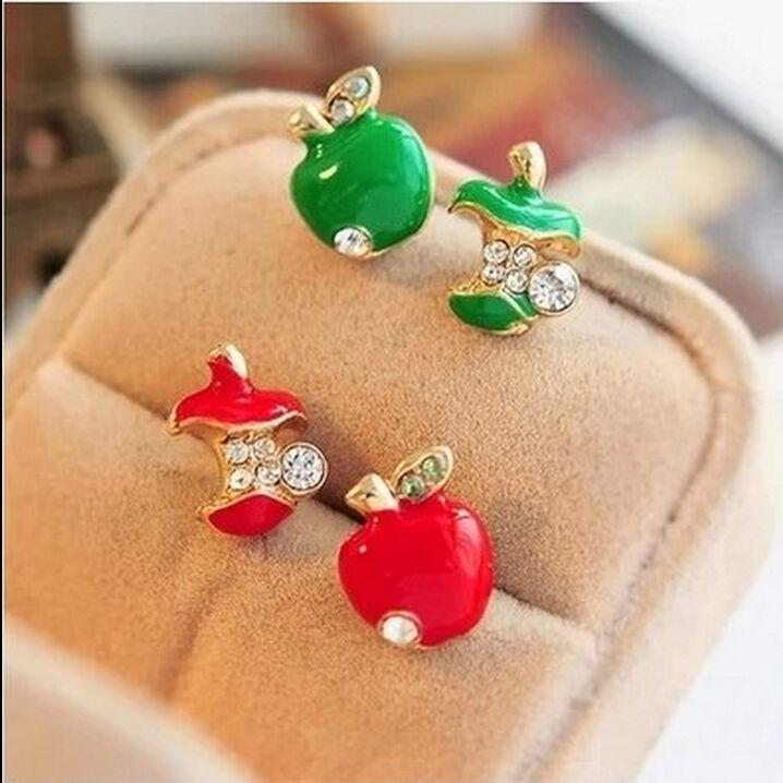 Free shipping!Original single foreign trade jewelry glaze red apple retro Studs Earrings asymmetric*C104(China (Mainland))