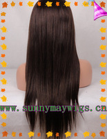 Sunnymay Super quality 120%density #1b straight Indian remy human hair silk full lace wig in stock