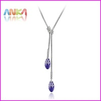 Free Shipping Long Drop Necklace Crystal Pendant Made With Swarovski Elements Plating Really Platinum Fine Jewelry #83369
