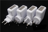 4 Ports USB Wall Home Travel AC Charger Adapter US/ AU/ EU/ UK Plug for iPad iPhone iPod Galaxy HTC