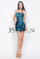 12C023 Strapless Crystal Ruching Satin Slim-Line Short Party Cocktail Dress Party Dress