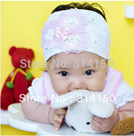 FREE SHIPPING---Hair accessories with lace bowknots girls headbands white lace baby infant headdress headwear 1pcs/lot CP5(China (Mainland))