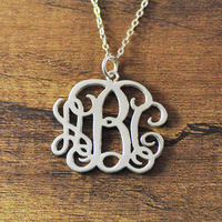 Customised Sterling Silver Monogram Necklace,personalized initial necklace