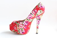Free/ Drop Shipping 2013 Flower Print Red Bottom Shoes Sexy High Heels Platform Pumps Women&#39;s Wedding Shoes Plus Size 32-43
