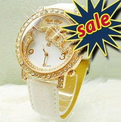 Hello kitty watch 2pcs/LOT Promotions Free shipping hot High Quality Fashion Cute Lovely Girl woman lady Wrist Watches C5000(China (Mainland))